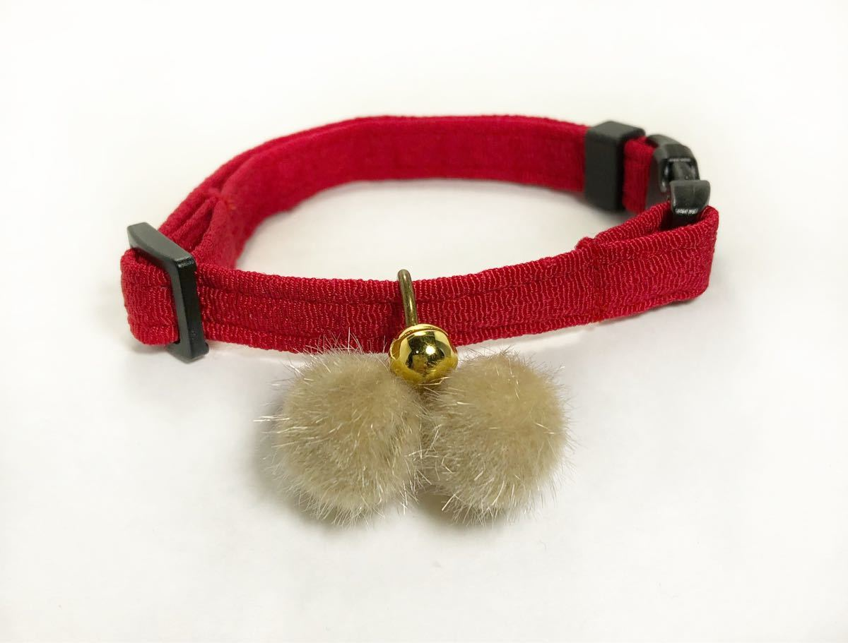 猫首輪 オリジナル にゃんたま首輪 ちりめん風生地 赤 鈴つき 猫 ハンドメイド