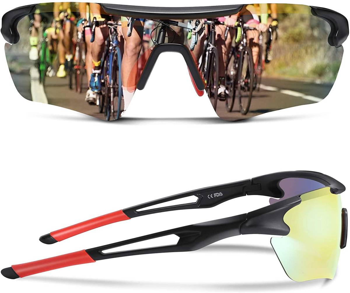 スポーツサングラス超軽量 UV400 紫外線防止(色: ブラック/レッド)