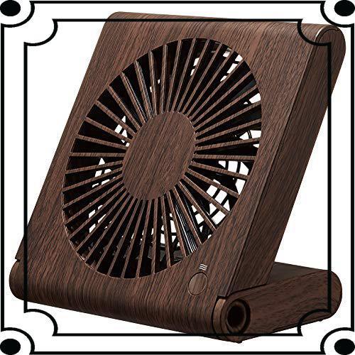 ドウシシャ 卓上扇風機 スリムコンパクトファン 3電源(AC USB 乾電池) 風量3段階 静音 ピエリア ダークウッド FSV-_画像1