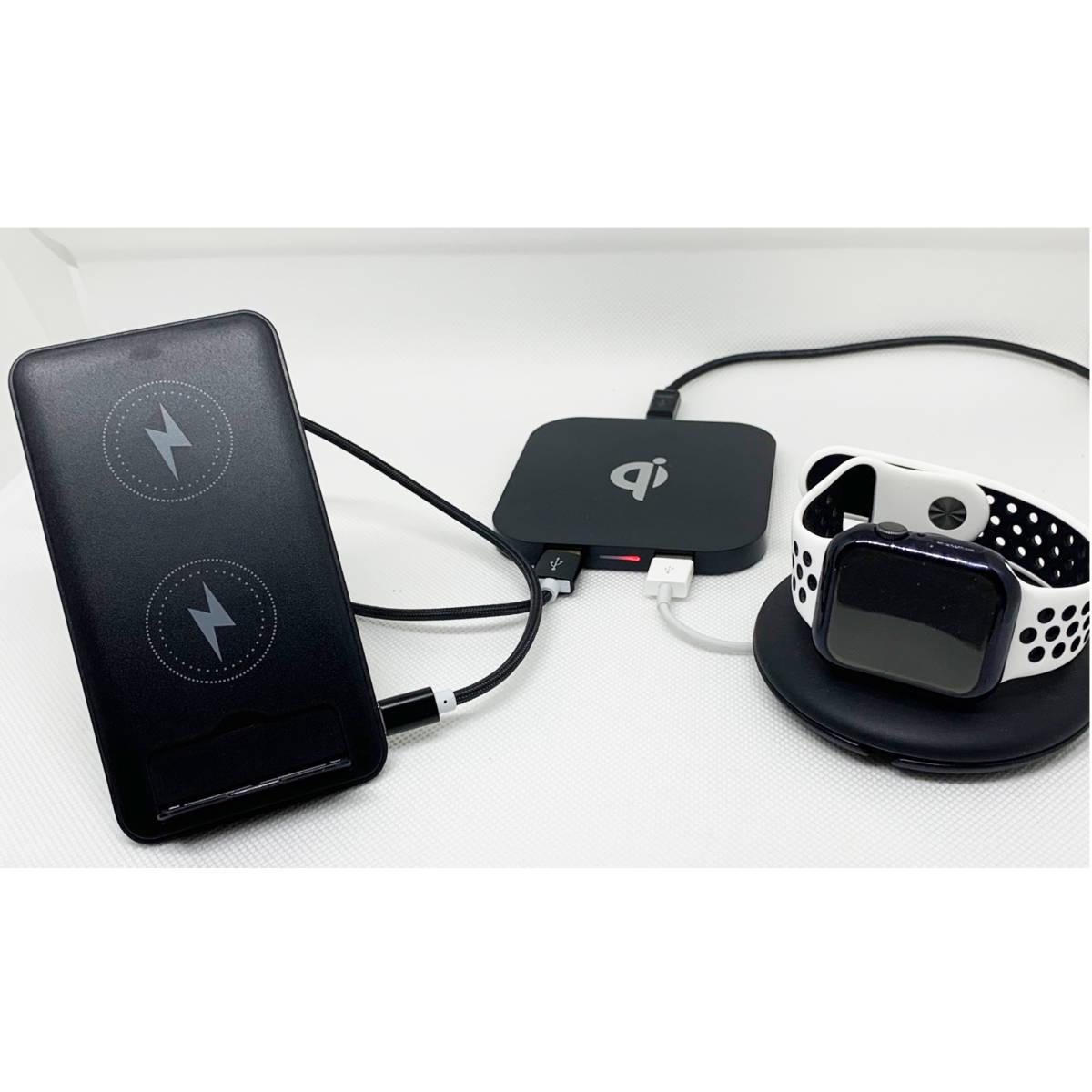 2台セット ワイヤレス充電器 卓上【急速10Wグレードアップ】 折畳み スタンド&おくだけパッド USB出力2口 3台同時充電 [黒&白] _画像9