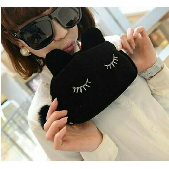 ポーチ☆猫耳 黒レディース 化粧ポーチ バッグインバッグ コスメポーチ 化粧道具