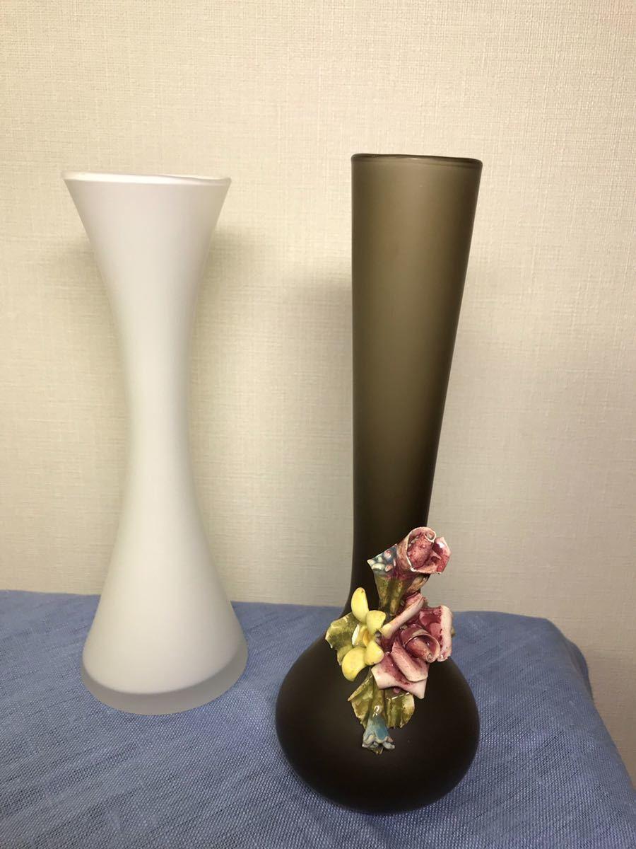 ガラス 花瓶 花入れ 花器 一輪挿し フラワーベース 2個セット_画像3