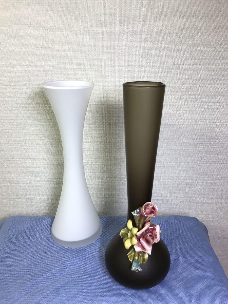 ガラス 花瓶 花入れ 花器 一輪挿し フラワーベース 2個セット_画像1