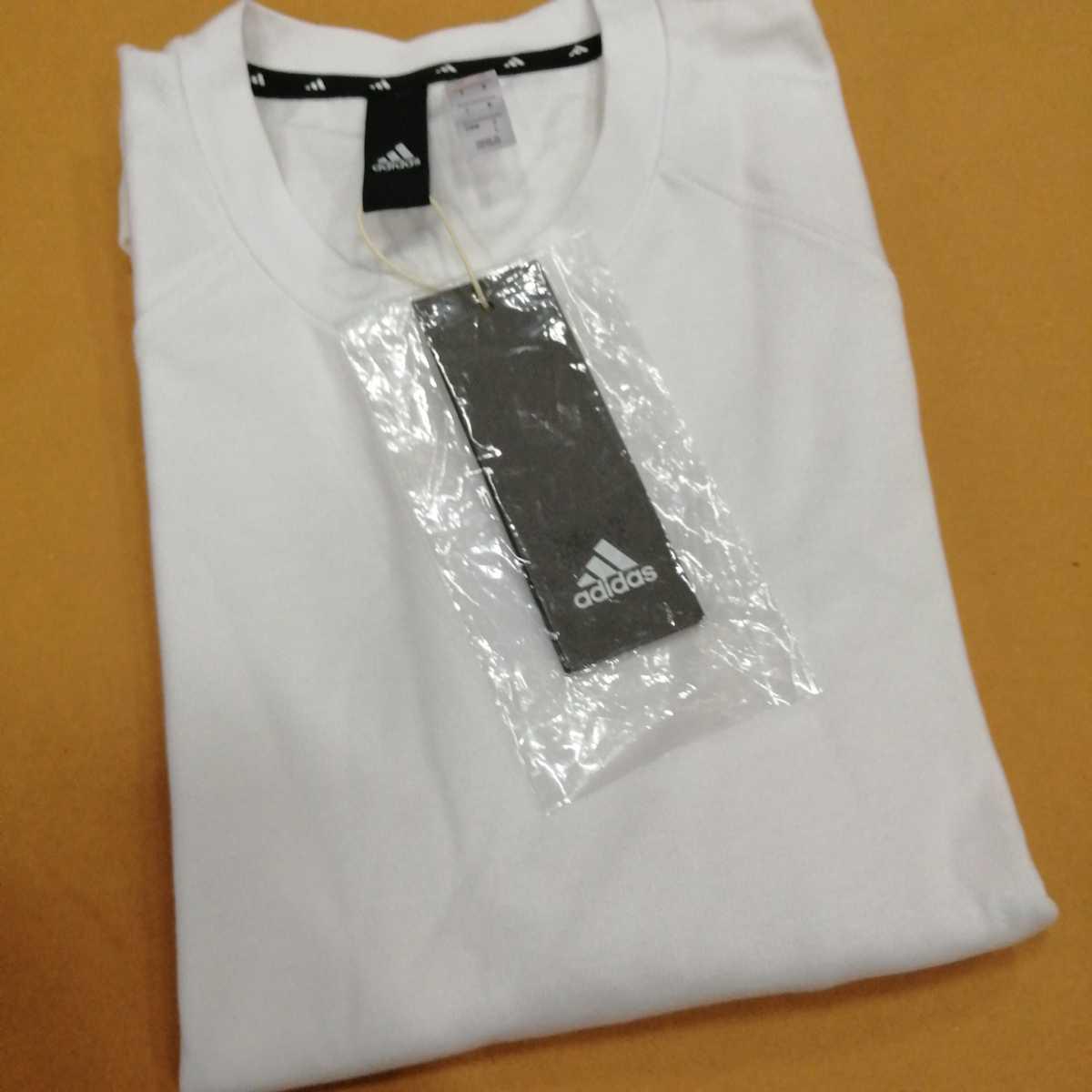 adidas アディダス Tシャツ ホワイト 白 L 新品 送料込 ヘビーオンス 3ストライプ ビッグロゴ オーバーサイズ 韓国 クルーネック インナー