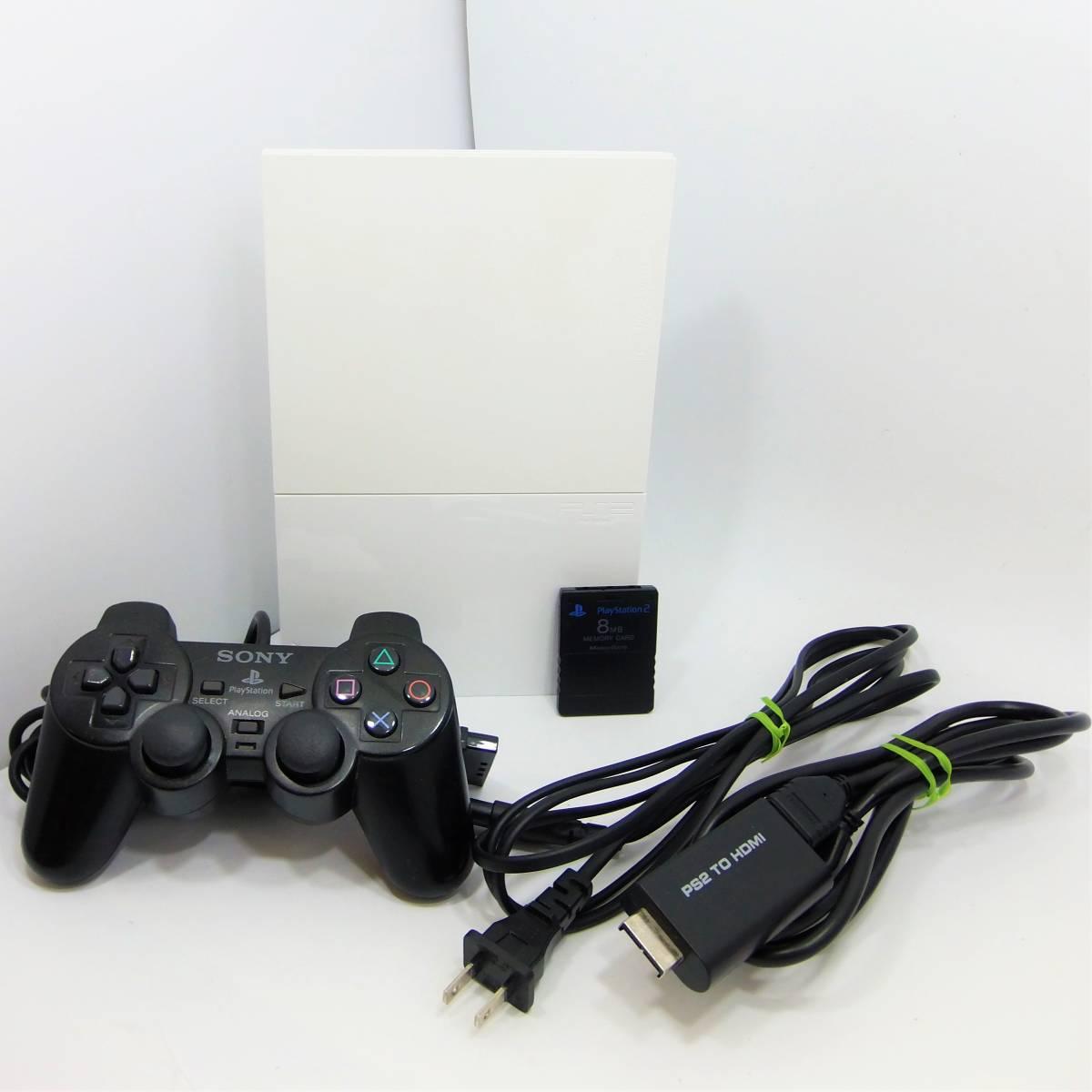 [ジャンク] ソニー SONY PlayStation2 PS2 本体 薄型 SCPH-90000 ホワイト コントローラー HDMI 8MBメモリーカード 付属 [3色コード欠品]_画像1