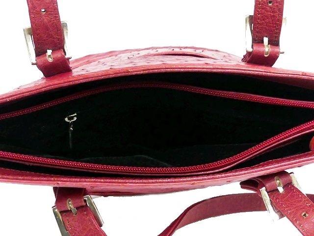 即決★N.B.★レザーハンドバッグ オーストリッチ メンズ 赤 ピンク 本革 トートバッグ 本皮 かばん 鞄 レディース 手提げバッグ_画像8