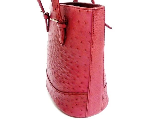 即決★N.B.★レザーハンドバッグ オーストリッチ メンズ 赤 ピンク 本革 トートバッグ 本皮 かばん 鞄 レディース 手提げバッグ_画像5