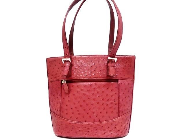 即決★N.B.★レザーハンドバッグ オーストリッチ メンズ 赤 ピンク 本革 トートバッグ 本皮 かばん 鞄 レディース 手提げバッグ_画像3