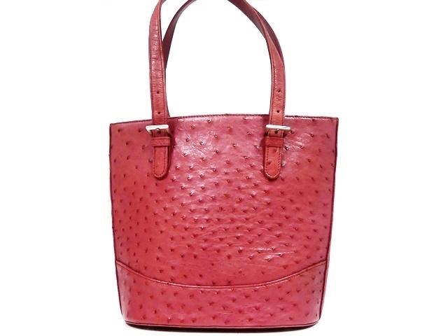 即決★N.B.★レザーハンドバッグ オーストリッチ メンズ 赤 ピンク 本革 トートバッグ 本皮 かばん 鞄 レディース 手提げバッグ_画像2