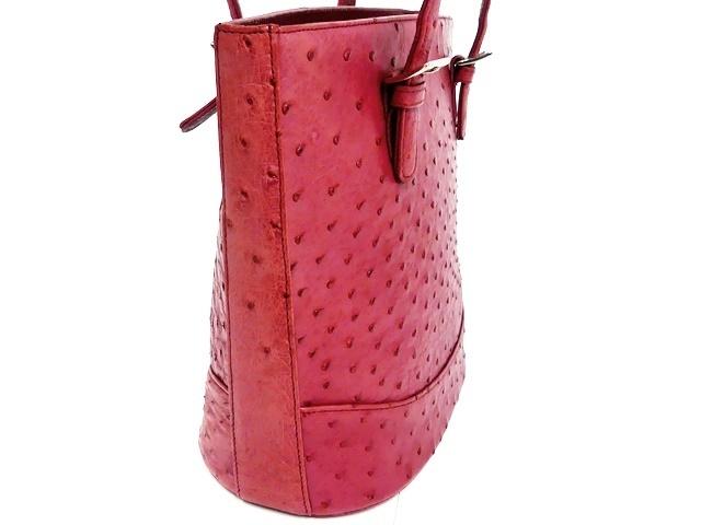 即決★N.B.★レザーハンドバッグ オーストリッチ メンズ 赤 ピンク 本革 トートバッグ 本皮 かばん 鞄 レディース 手提げバッグ_画像4