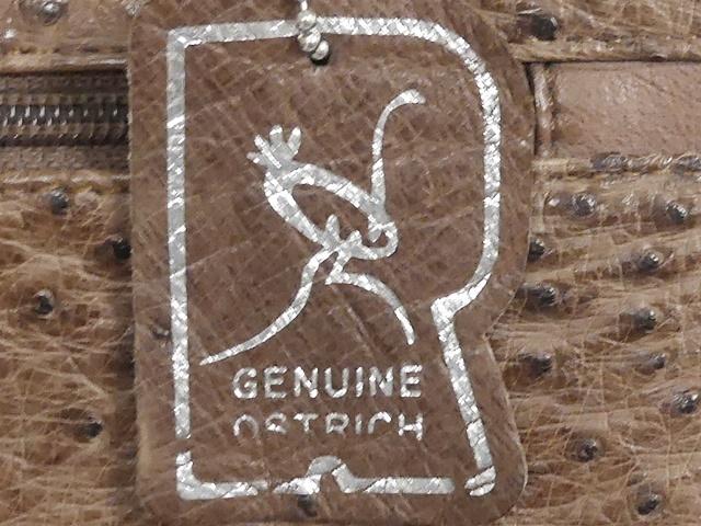 即決★GENUINE OSTRICH★レザーハンドバッグ オーストリッチ メンズ 茶 本革 トートバッグ 本皮 かばん 鞄 レディース 手提げバッグ_画像9
