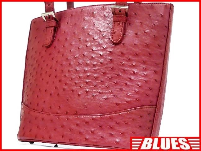 即決★N.B.★レザーハンドバッグ オーストリッチ メンズ 赤 ピンク 本革 トートバッグ 本皮 かばん 鞄 レディース 手提げバッグ_画像1