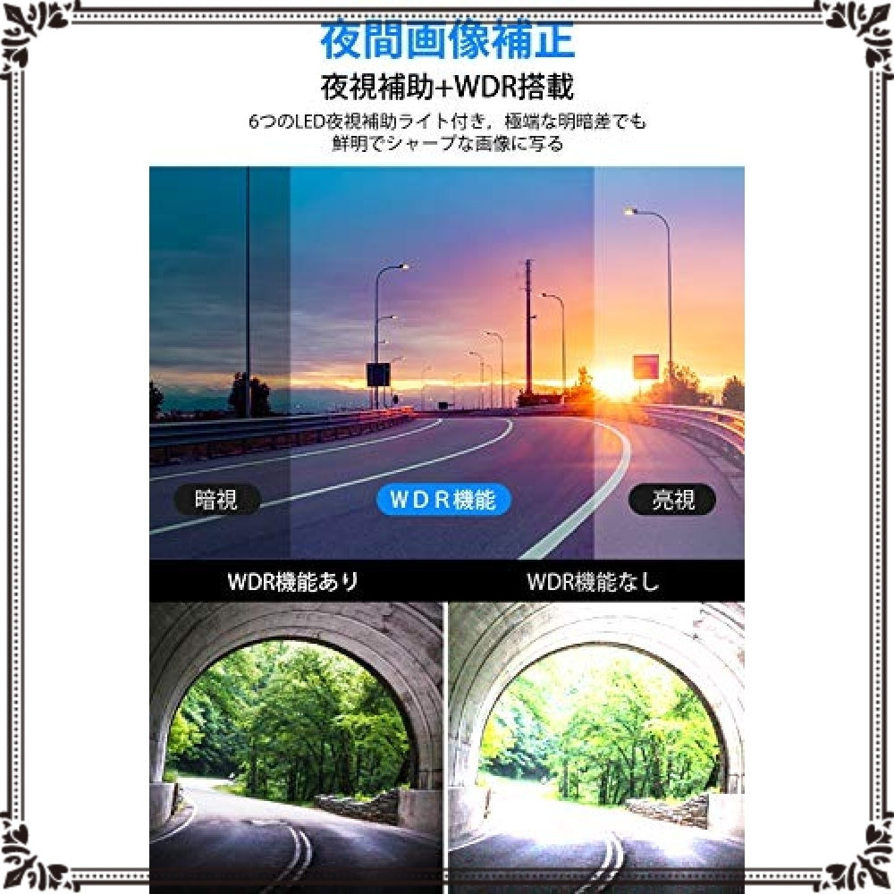 ◇◆新品◆◇色ブラック 【2020最新版 32GB SDカード付き】 ドライブレコーダー 前後カメラ 赤外線暗視ライト 1296P_画像4