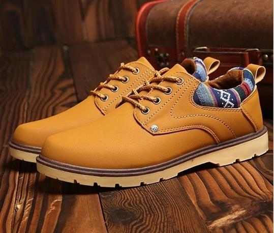 【新品】スニーカー メンズ 紳士靴 ビジネス カジュアル 防水 レースアップ PU レザー プレーントー シューズ 2色選択可 (25.5cm) E413_画像3