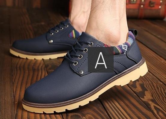 【新品】スニーカー メンズ 紳士靴 ビジネス カジュアル 防水 レースアップ PU レザー プレーントー シューズ 2色選択可 (25.0cm) E413_画像7