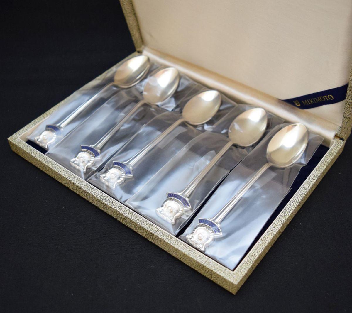 未使用/未開封 MIKIMOTO ミキモト パール付き スプーン 5本セット シルバーステンレス 真珠②_画像1