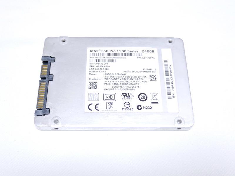 送料 198円 Intel SSD 240GB Pro 1500 シリーズ SSDSC2BF240A4L 中古品 動作確認済み MLC クリックポスト_画像2
