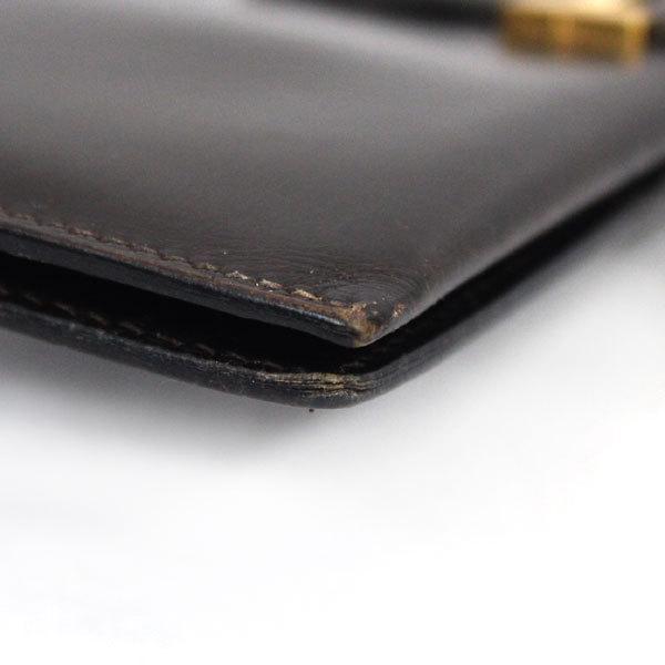 【中古】エルメス 財布 HERMES ベアン 二つ折り 長財布 ボックスカーフ 〇X刻印 1994年 ゴールド金具 ダークブラウン YJH3828_画像7