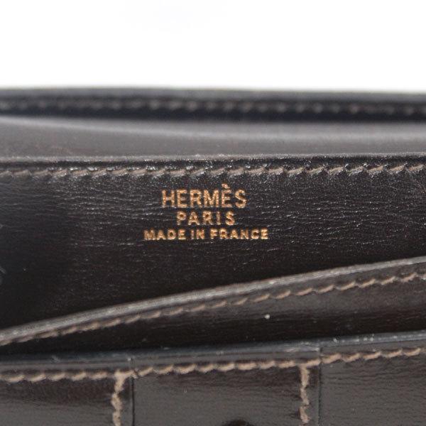 【中古】エルメス 財布 HERMES ベアン 二つ折り 長財布 ボックスカーフ 〇X刻印 1994年 ゴールド金具 ダークブラウン YJH3828_画像10