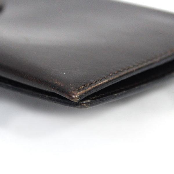 【中古】エルメス 財布 HERMES ベアン 二つ折り 長財布 ボックスカーフ 〇X刻印 1994年 ゴールド金具 ダークブラウン YJH3828_画像6