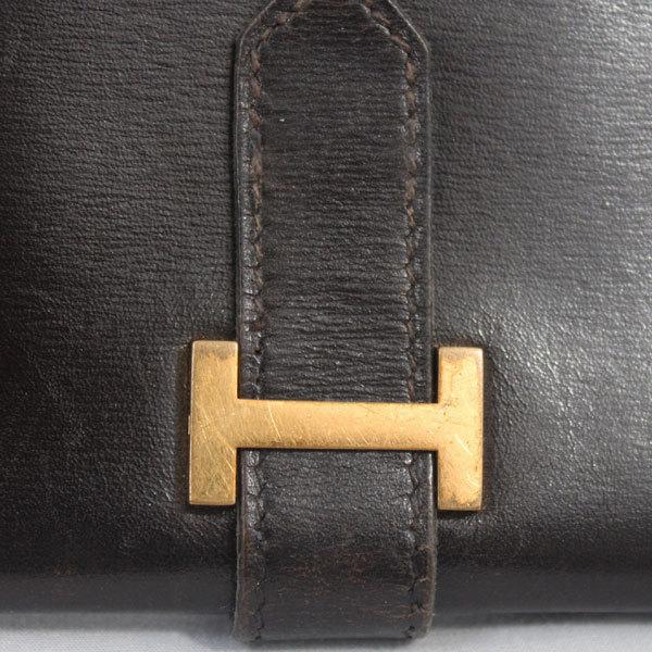 【中古】エルメス 財布 HERMES ベアン 二つ折り 長財布 ボックスカーフ 〇X刻印 1994年 ゴールド金具 ダークブラウン YJH3828_画像8