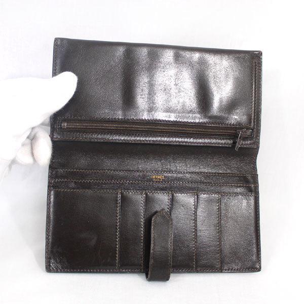 【中古】エルメス 財布 HERMES ベアン 二つ折り 長財布 ボックスカーフ 〇X刻印 1994年 ゴールド金具 ダークブラウン YJH3828_画像9