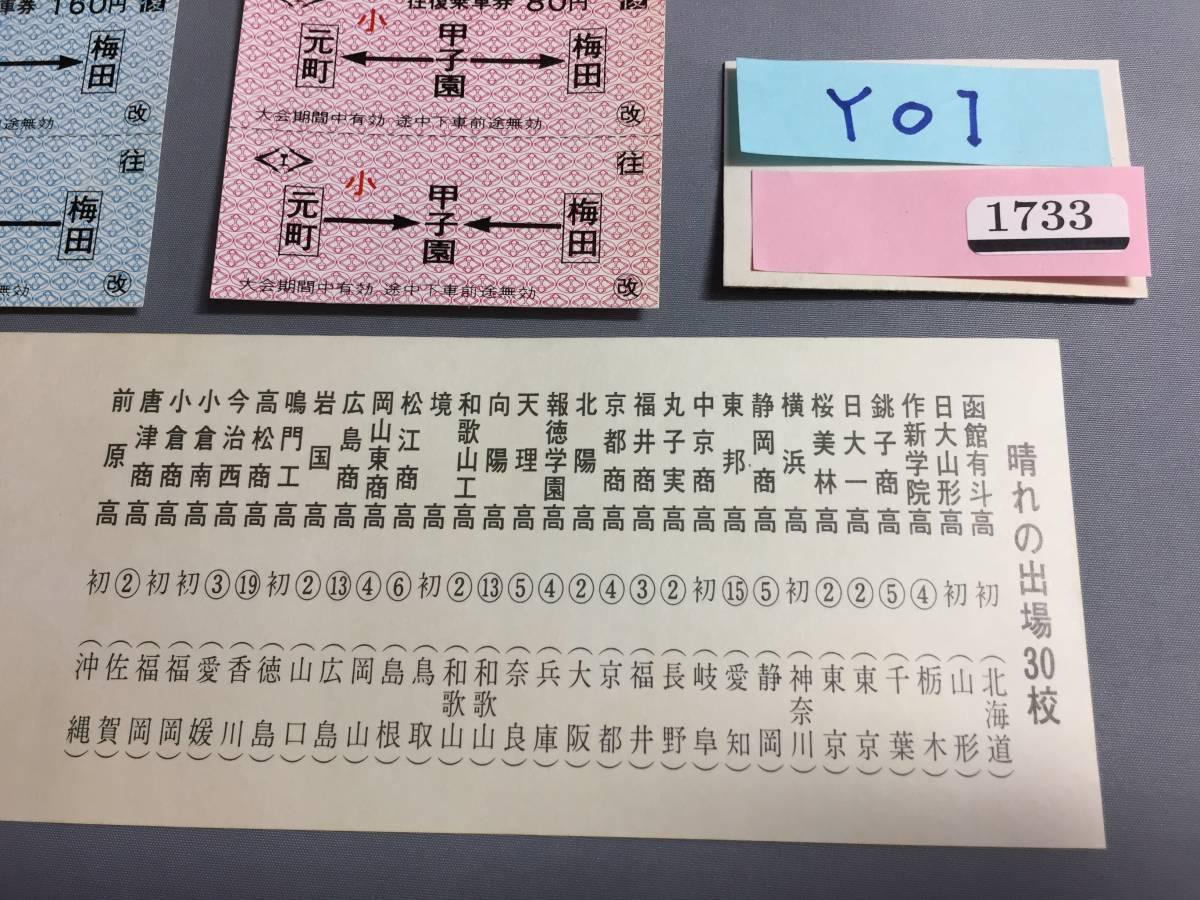 阪神電気鉄道 第45回選抜高校野球大会記念 昭和48年3月 往復乗車券3枚 【Y01-1733】_画像2