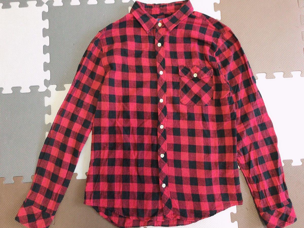 チェックシャツ ネルシャツ 長袖シャツ 印 イン Lサイズ