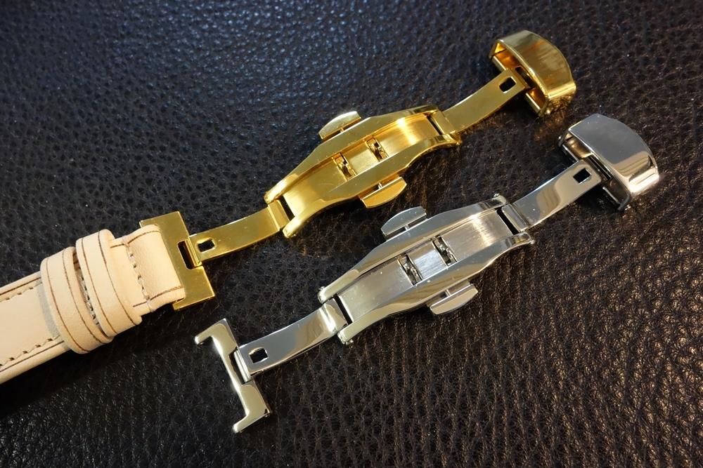 ◆台座付Dバックルビンテージベルト◆ ヌメ革 日本製 (台座幅,バックル色選択可) 18mm 腕時計ベルト ビンテージ デッドストック SEIKO等に_DバックルはゴールドPVCとシルバーを選択可