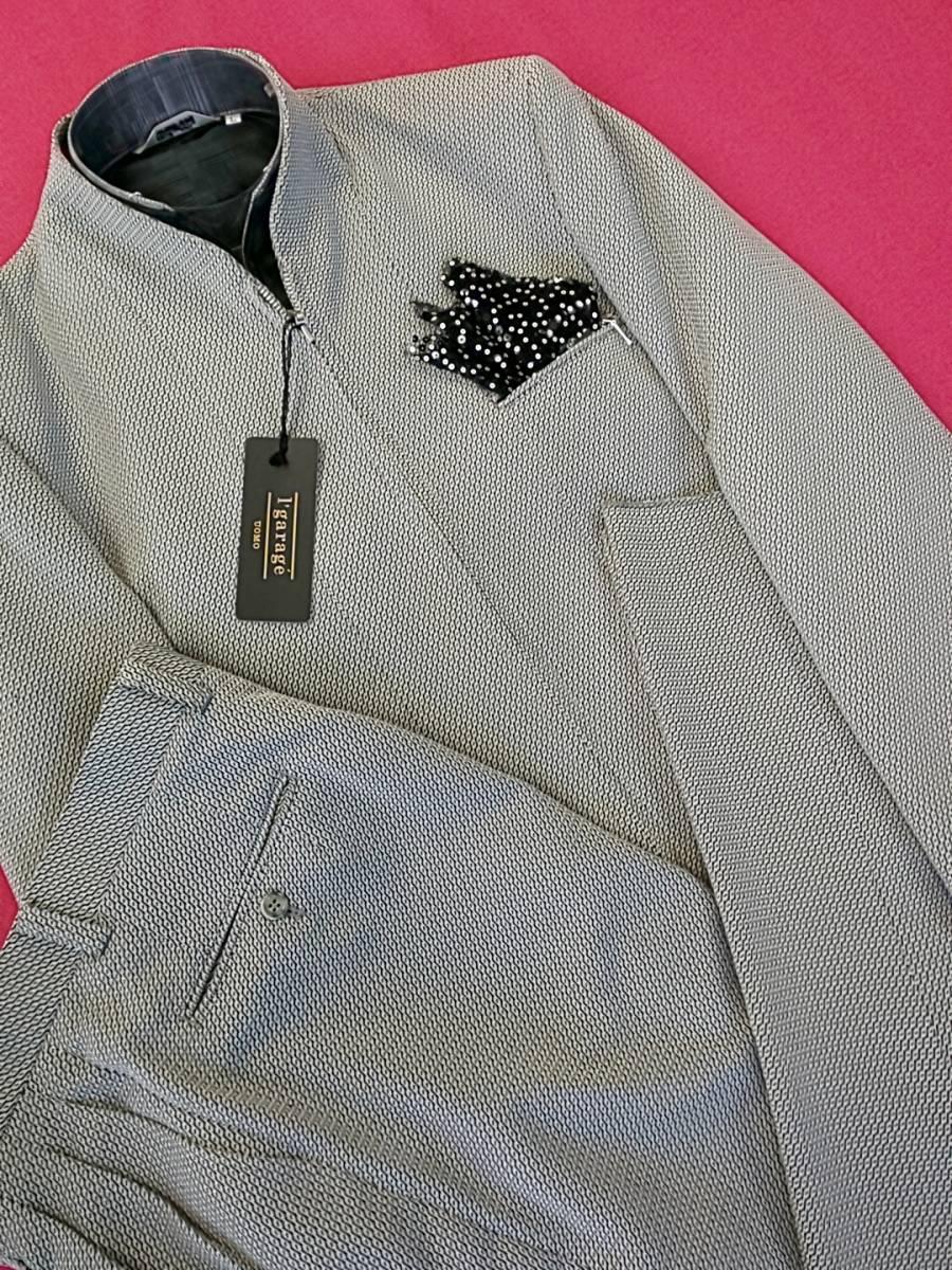 新品 SALE!! 特別価格!! 送料無料 l'garage マオカラースーツ スリータック LLサイズ ゆったり パーティー 結婚式 ステージ衣装 4525-1 _画像1