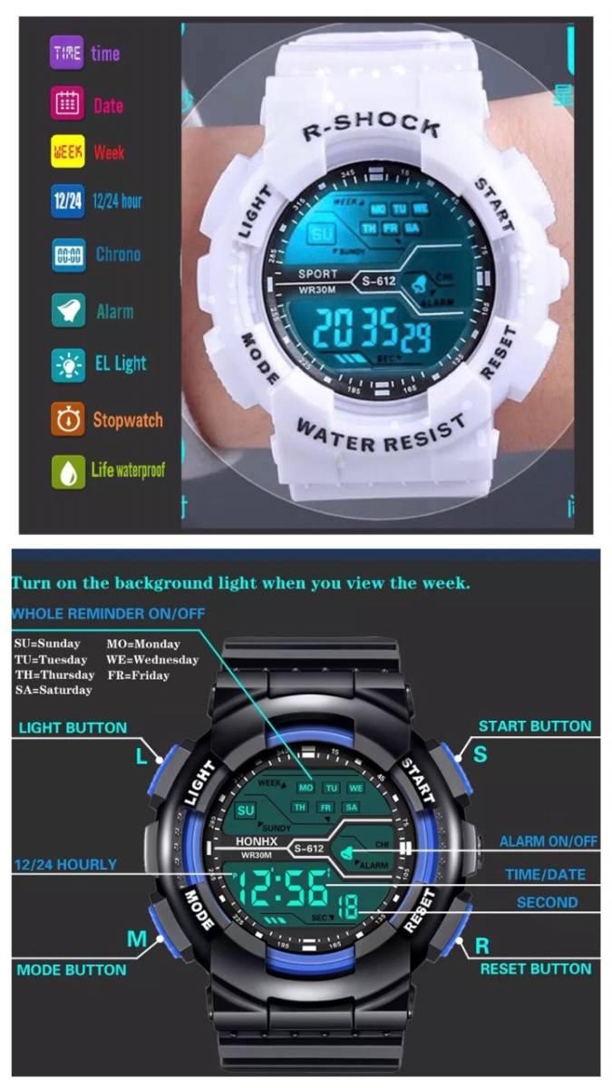 スポーツ腕時計 LED デジタル 腕時計 時計 ミリタリー 耐久性 スポーツ アウトドア キャンプ 男女兼用 ランニング  ホワイト 22 _画像5