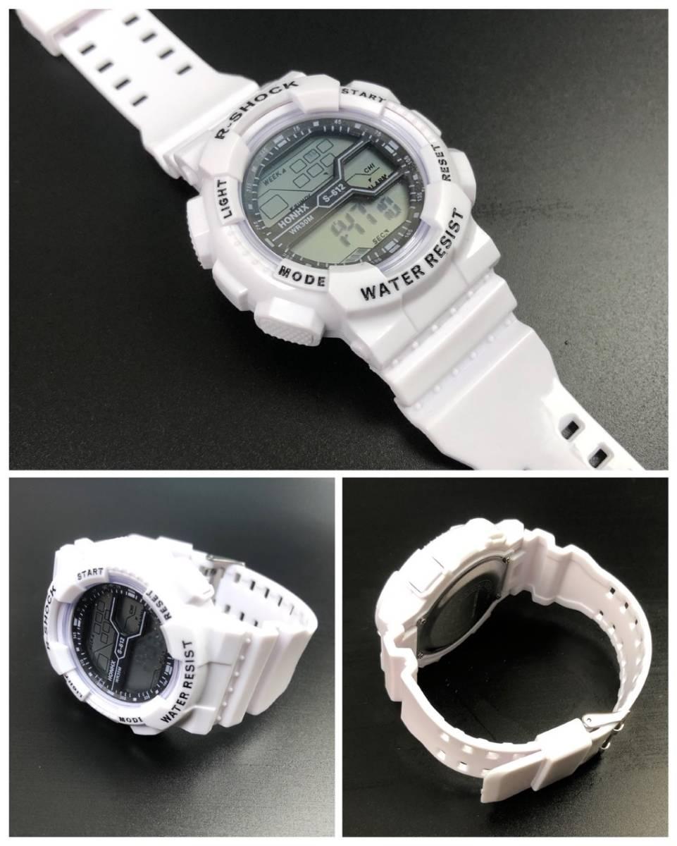 スポーツ腕時計 LED デジタル 腕時計 時計 ミリタリー 耐久性 スポーツ アウトドア キャンプ 男女兼用 ランニング  ホワイト 22 _画像3