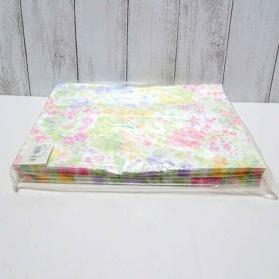 1287 送料無料 花柄 平袋 ローザ 100枚 24.5×18cm / ラッピング用品 包装 ギフト 紙袋 袋 店舗用品