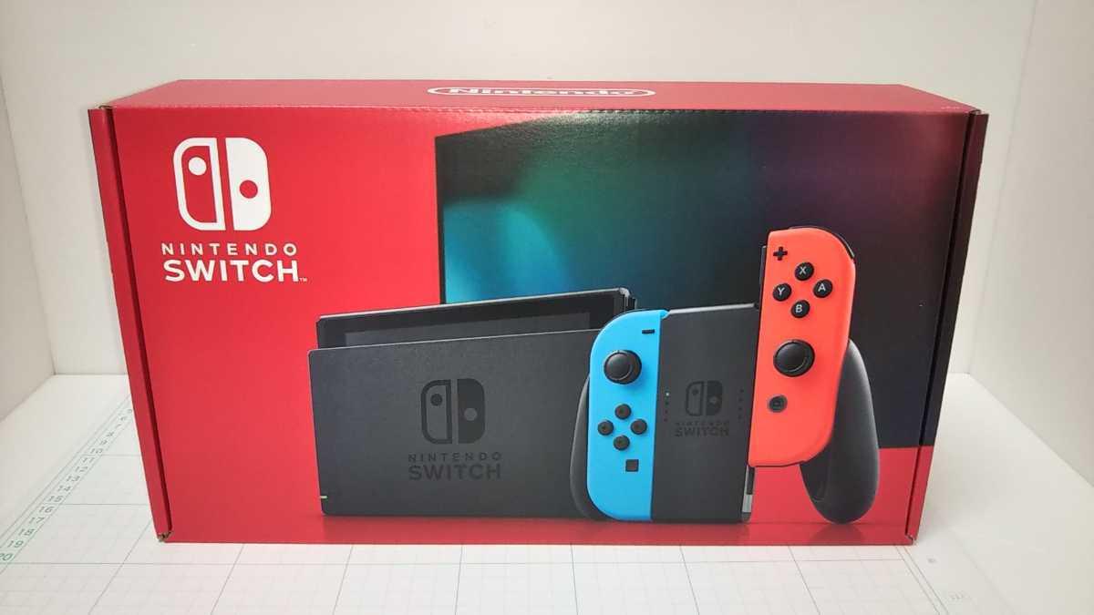 10月13日購入店印あり スイッチ Nintendo Switch Joy-Con(L)ネオンブルー/(R)ネオンレッド バッテリー持続時間が長くなった新モデル 新品_画像1