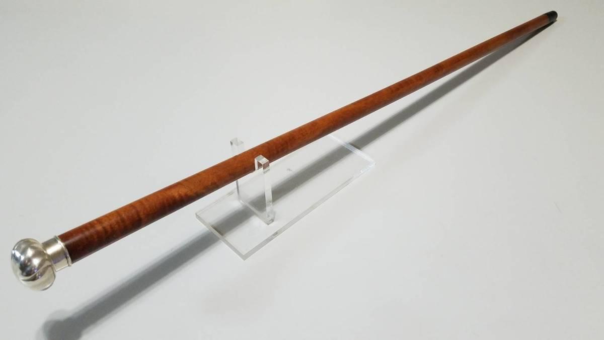 英国 アンティーク ステッキ 杖 銀製 大黒型ハンドル 樫 シャフト 86cm_画像9