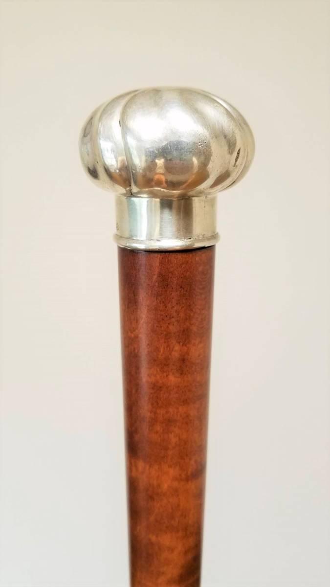 英国 アンティーク ステッキ 杖 銀製 大黒型ハンドル 樫 シャフト 86cm_画像1