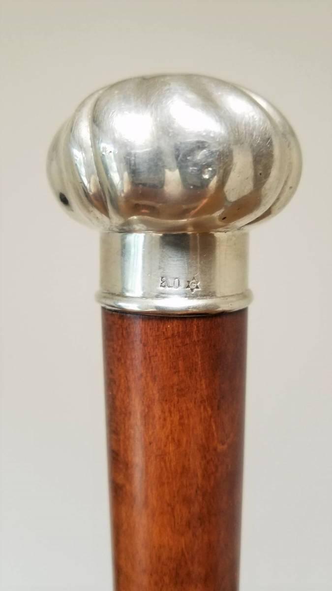 英国 アンティーク ステッキ 杖 銀製 大黒型ハンドル 樫 シャフト 86cm_画像5