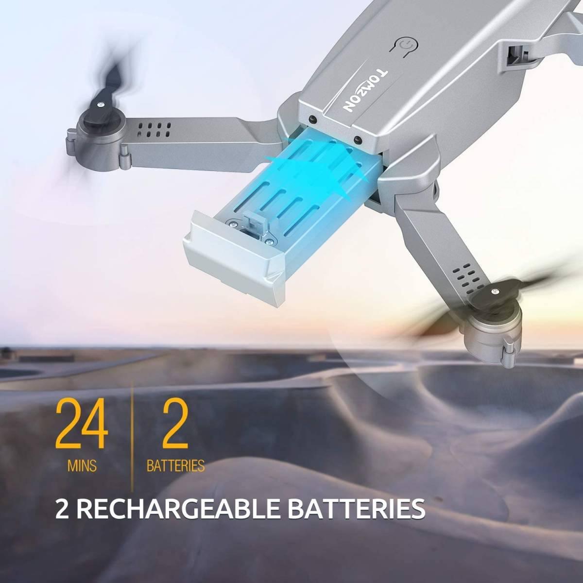 Tomzon ドローン 4Kカメラ付き 小型 初心者向け バッテリー2個 ヘッドレスモード 室内向け 折り畳み 収納ケース付き 国内認証済み D25