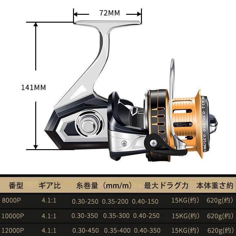 YU90 スピニングリール 釣りリール リール 大型 12000番 最大ドラグ力15kg 扱い/遠投やすい 海水/淡水両用 左右ハンドル交換可能 左/右巻き_画像2