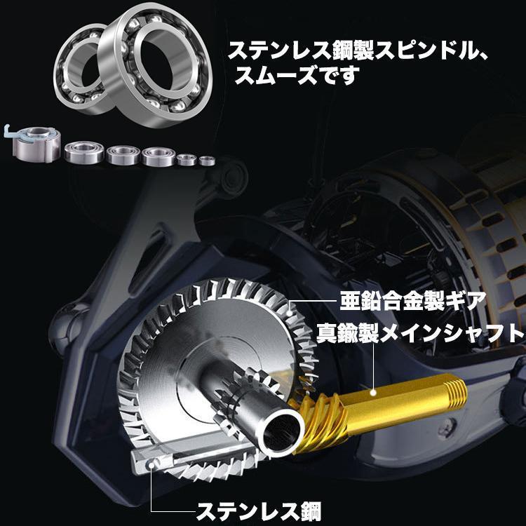 YU90 スピニングリール 釣りリール リール 大型 12000番 最大ドラグ力15kg 扱い/遠投やすい 海水/淡水両用 左右ハンドル交換可能 左/右巻き_画像5