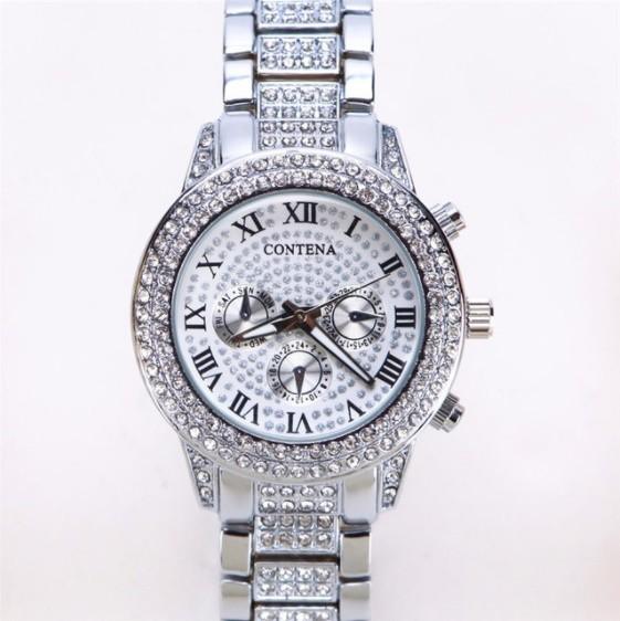 Contena 時計 女性 レディース クォーツ ラインストーン 腕時計 ウォッチ S2153_銀