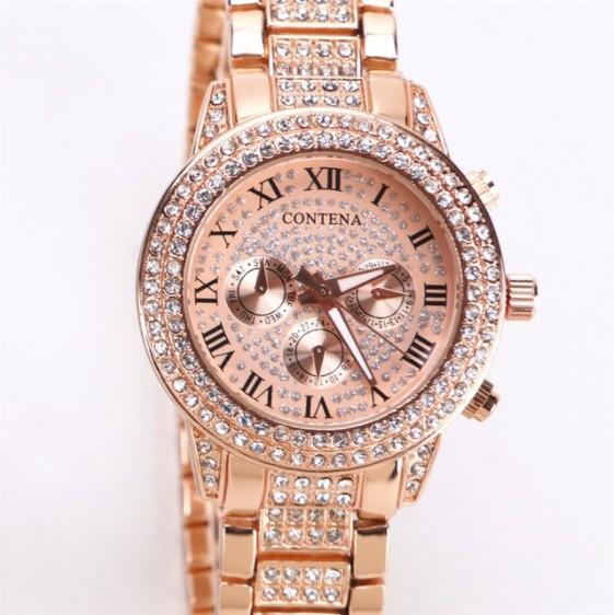 Contena 時計 女性 レディース クォーツ ラインストーン 腕時計 ウォッチ S2153_ローズ