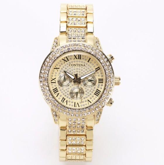 Contena 時計 女性 レディース クォーツ ラインストーン 腕時計 ウォッチ S2153_金