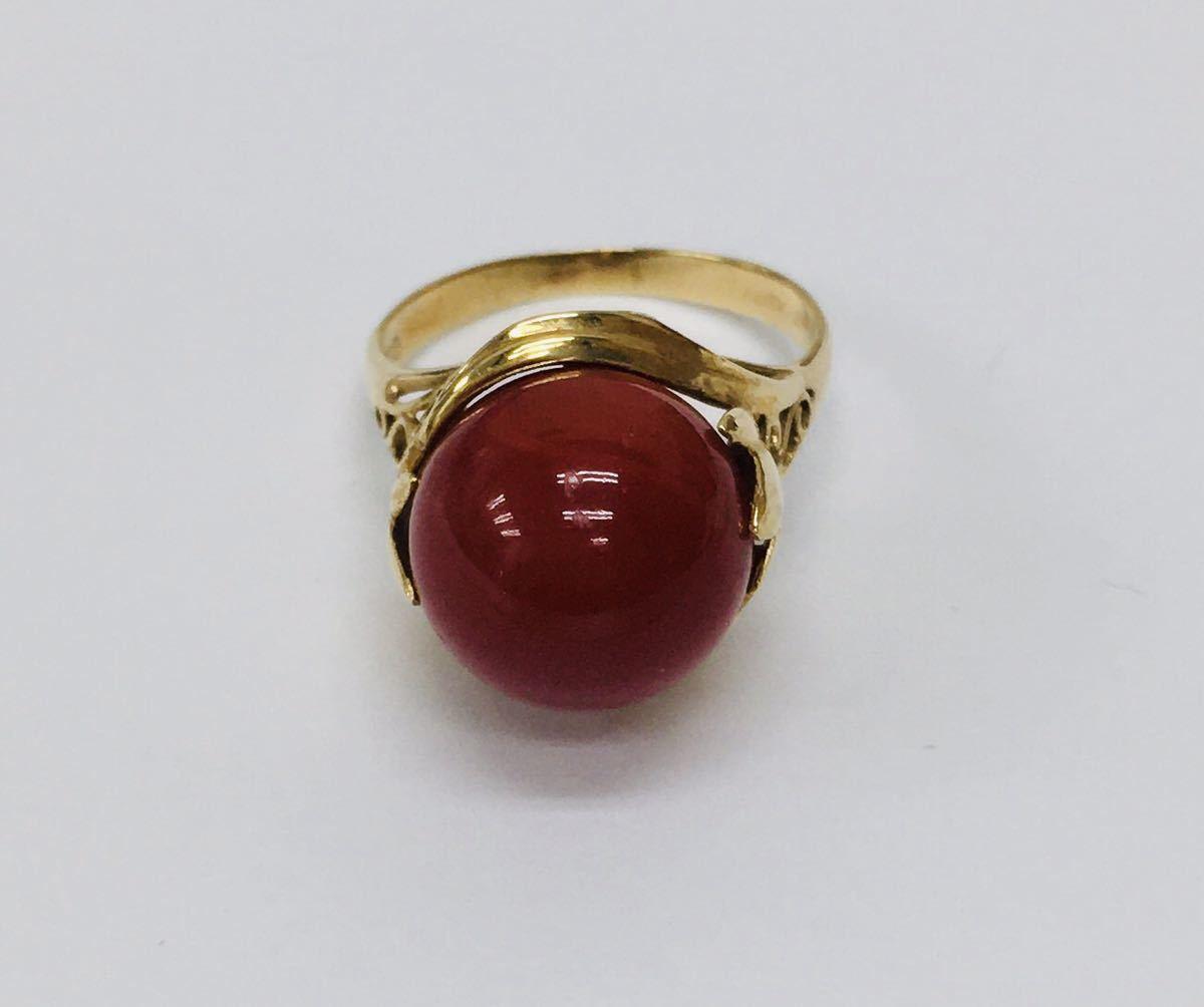貴重 大粒 天然 血赤 珊瑚 K18 ゴールドリング 指輪 定価328,000円_画像1