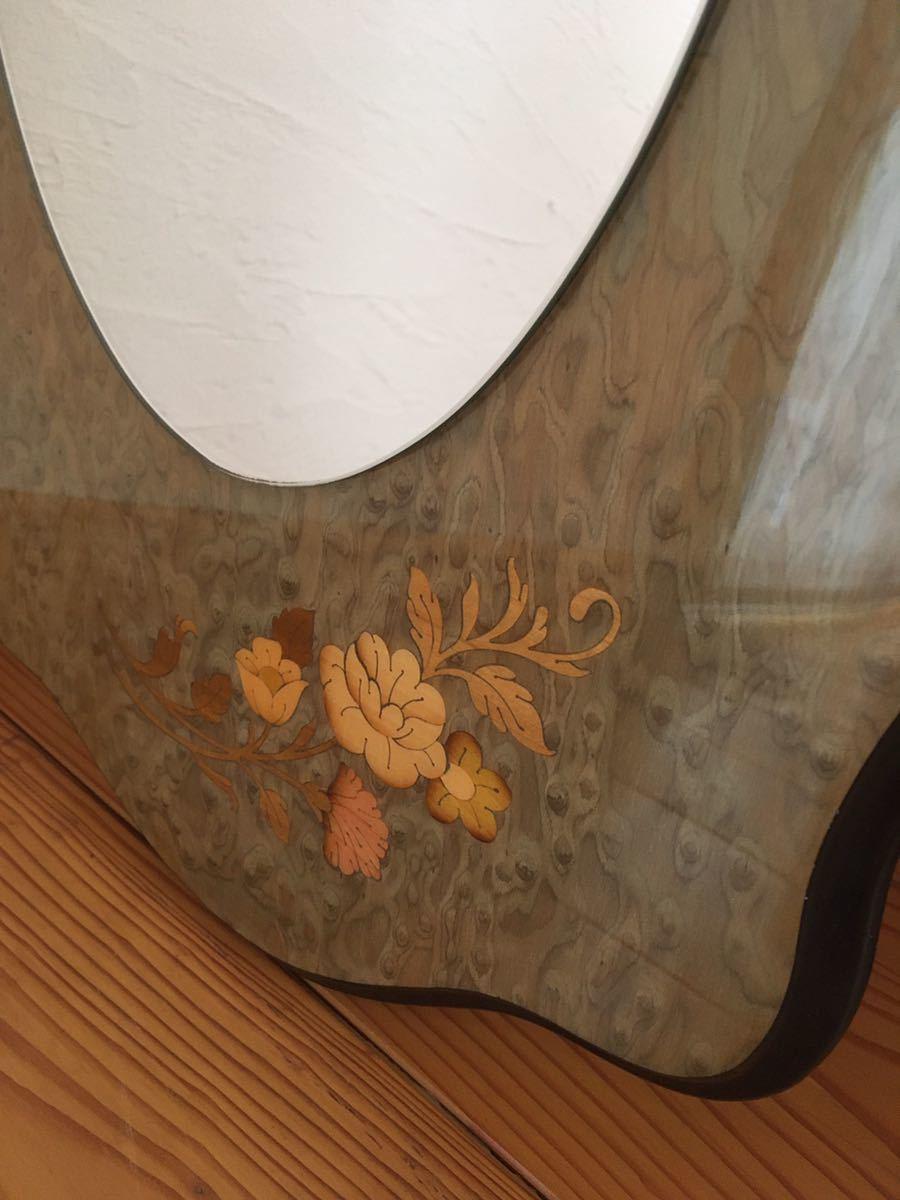 ヨーロッパWo アンティーク イタリア製 ウォールミラー 壁掛け鏡 花柄_画像2
