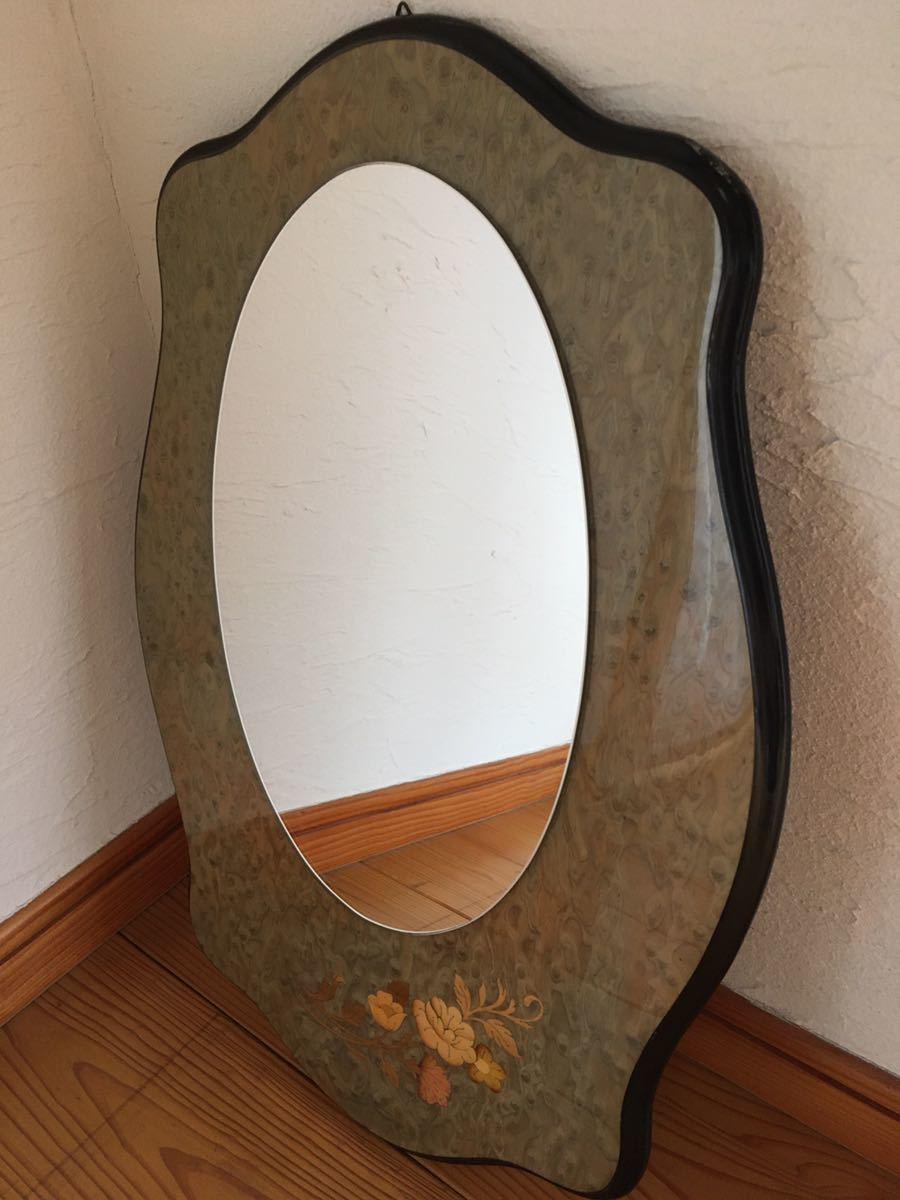 ヨーロッパWo アンティーク イタリア製 ウォールミラー 壁掛け鏡 花柄_画像1