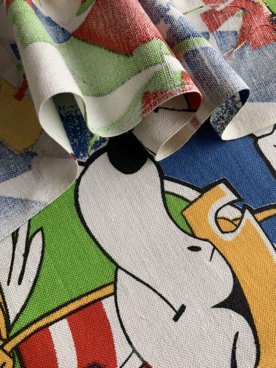 はぎれB アニマル柄 ビンテージ生地 インポート 動物 リメイク コレクター ハンドメイド 手作り 布 レトロ デッドストック スヌーピー風