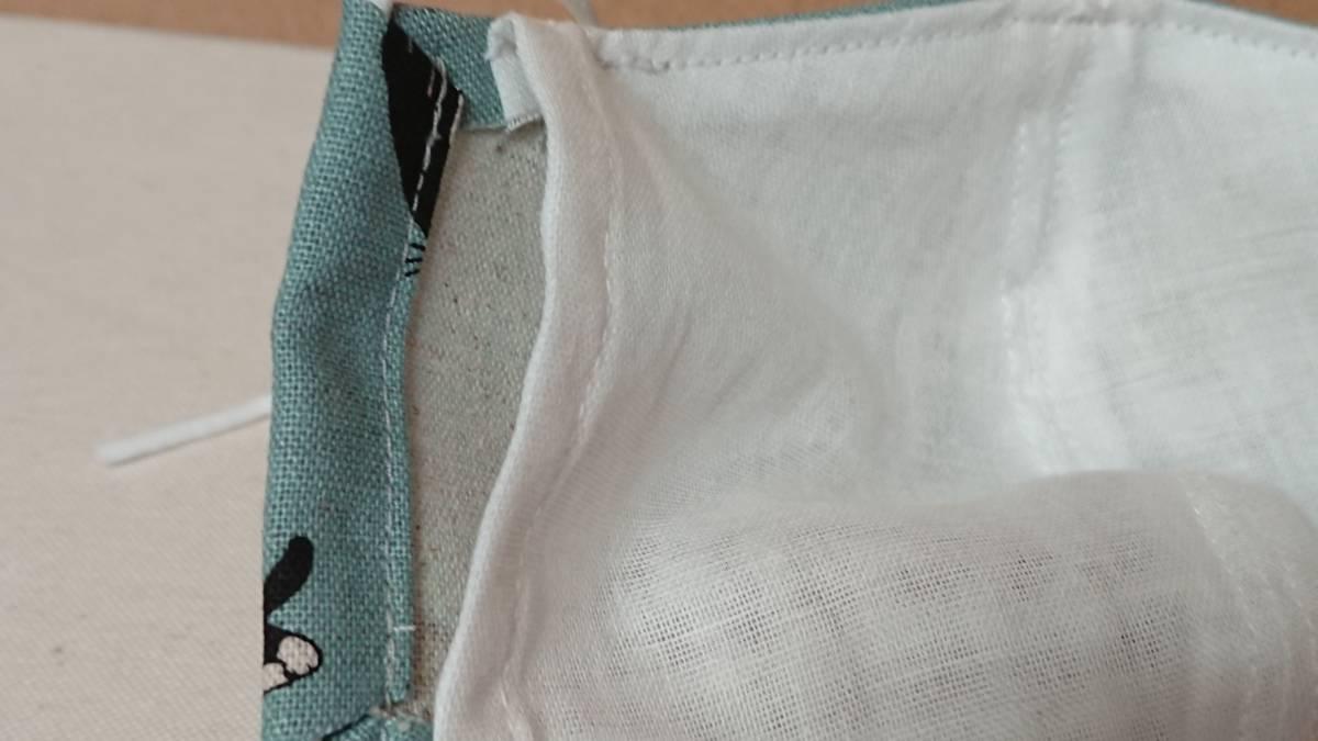 Q2 猫柄 マスクカバーインナーマスクフィルターポケット付ハンドメイドくすみカラーピスタチオ緑ハチワレ大人用手ピカジェルホルダーセット_画像4