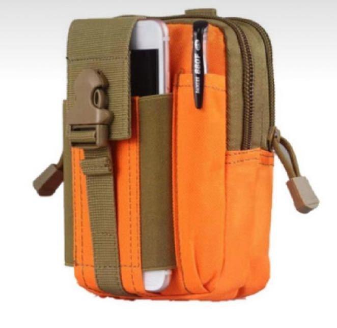 ウエストポーチ オレンジ メンズ 小さめ 仕事用 多機能 レディース スポーツ ベルトループ 防水 アウトドア 大容量