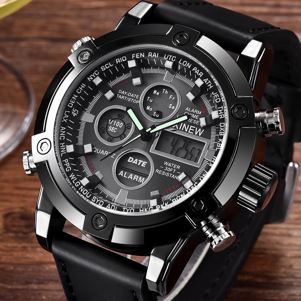新品★日本未入荷★XINEWデジタル&アナログ腕時計 多機能 ストップウォッチ LED カレンダー ディーゼル G-SHOCK オメガ ファンに人気 黒_画像1